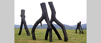 Title: N1-53-32-8:132º42'.34º45'.JA. Commissioned for the Yunomori Gardens and Building, Takamiya, Hiroshima, Japan. Wood sculpture. 1999